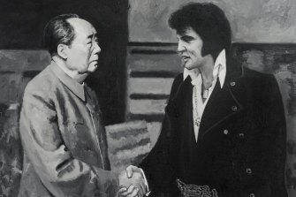 Shi Xinning's painting of Mao Zedong meeting Elvis Presley hovered over the interview.