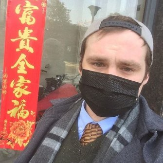 Connor Reed, 25, in Wuhan, China. Having recovered from one of the earliest suspected cases of the coronavirus COVID-19, he is hoping to return to Brisbane, Australia.