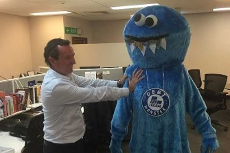 Mark McGowan with Labor's Debt Monster, used to promote its campaign against the Liberal's public debt.