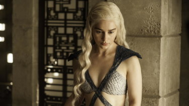 Daenerys Targaryen, Jon Snow's lover and aunt, in Game of Thrones.