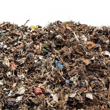 The heap: Construction waste piled high.