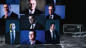 Top row, from left: Gladys Berejiklian, Anthony Albanese, Josh Frydenberg. Middle row: Greg Hunt, Scott Morrison, Philip Lowe. Bottom row: Matt Comyn, Brendan Murphy, Daniel Andrews, Mark McGowan.