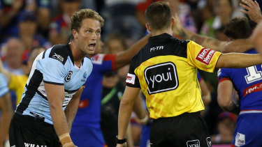 Tough call, sir: Cronulla's Matt Moylan argues against a penalty in the Sharks' defeat against Newcastle on Friday.