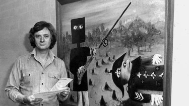 The National Gallery of Australia's founding director, James Mollison, in 1975 with Sidney Nolan's Death of Sergeant Kennedy at Stringybark Creek, one of Nolan's Ned Kelly paintings.