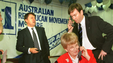 The launch of the Republican movement in Melbourne: Malcolm Turnbull, Hazel Hawke and Eddie McGuire.