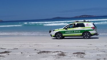Emergency services at Kelp Beds beach Esperance responding to potential shark attack.