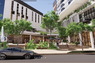 The Sherwood Road entry to the proposed Toowong Town Centre development.