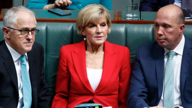 Malcolm Turnbull, Julie Bishop and Peter Dutton before August's leadership spill.