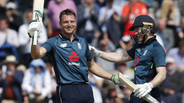 England's Jos Buttler celebrates his match-winning century against Pakistan at the weekend.