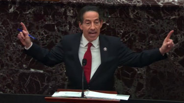 Representative Jamie Raskin, a Democrat, speaks as the Senate begins Donald Trump's second impeachment trial.