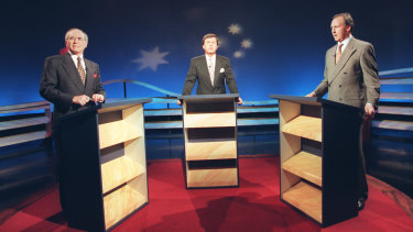 John Howard debates Paul Keating during the 1996 federal election campaign.