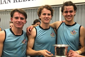 Geelong Grammar draft hopefuls (L-R) Caleb Serong, Thomson Dow and Brodie Kemp.