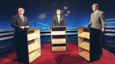 John Howard debates Paul Keating during the 1996 federal election campaign.