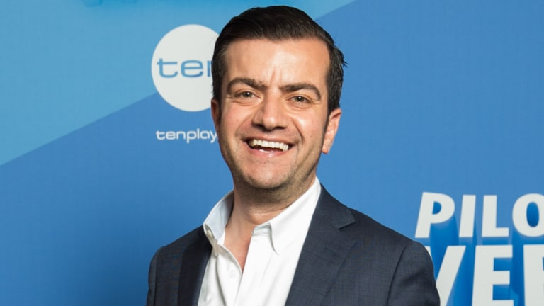 Potty-mouth: Sam Dastyari at Ten's pilot week launch on Tuesday.