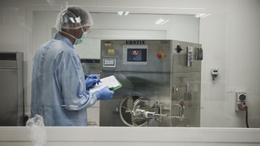 Matthew Foster, a production manager at Dr George O'Neil's Go Medical Industries lab.