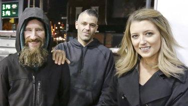 Johnny Bobbitt, left, Mark D'Amico and Kate McClure in Philadelphia last November.