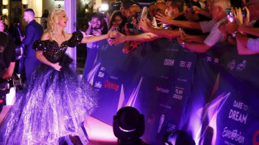 Crowd pleaser: Kate Miller-Heidke meets the fans on the opening night of the 64th Eurovision Song Contest.
