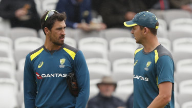 Mitchell Starc (left) has endured a dramatic fall from grace during the Ashes series so far.
