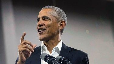 Former President Barack Obama speaks during a rally in November.