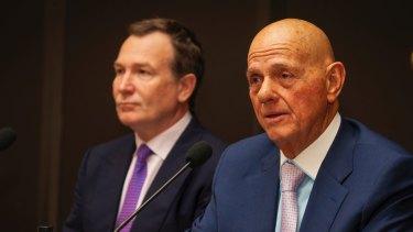 Premier Investments chief executive Mark McInnes and chairman Solomon Lew.