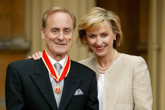 Power couple: Harold Evans and Tina Brown pictured after Evans was knighted in 2004.