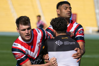 Angus Crichton and Daniel Tupou from the Roosters at their opposed sessions against Catalans ahead of this weekend's World Club Challenge against St Helens.