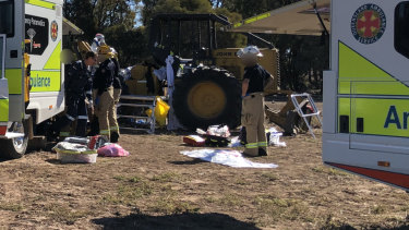 A team of paramedics, firefighters, local doctors and a rescue helicopter sent to help.