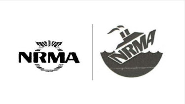 The NRMA's trademarked logo, left, and the Maritime Union image it complained about.