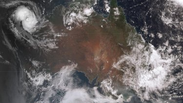 Image of Cyclone Damien gravitating towards the Pilbara coast captured by the Japanese weather satellite Himawari 8.