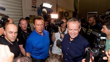 Arnold Schwarzenegger met with Bill Shorten and fans at the Arnold Classic Australia at the Melbourne Convention and Exhibition Centre.