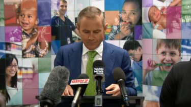 Health Minister Roger Cook at Wednesday's press conference.