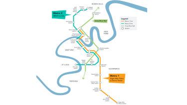 Brisbane Metro route map.