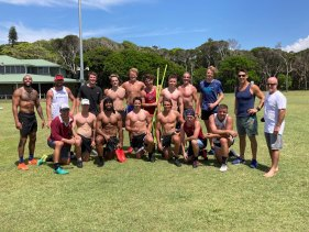 Josh Addo-Carr (far left) training in Lennox Head, with Berrick Barnes (front row far left) and Scott Wisemantel (blue singlet).