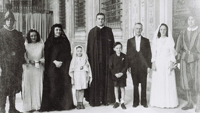 Nuala Considine at her father's presentation to Pope Pius XII as Irish Ambassador to the Holy See. From left: Nuala, Delia Murphy, Orla, Colm, Dr TJ Kiernan and Blon.