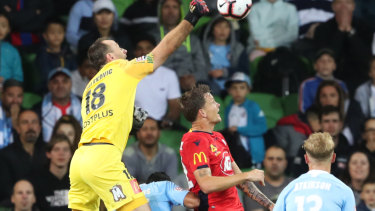 Goalkeeper Eugene Galekovic goes up for Melbourne City on Saturday night.
