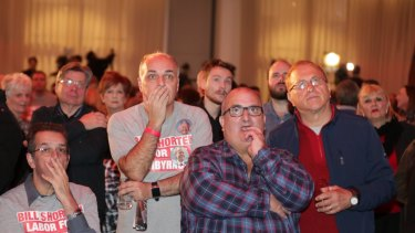 Agony: supporters at Labor's post-election event in Essendon