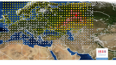 A 2017 photo by the INRS, Institute for Radiological Protection and Nuclear Safety, shows a map of the detection of Ruthenium 106 in France and Europe.