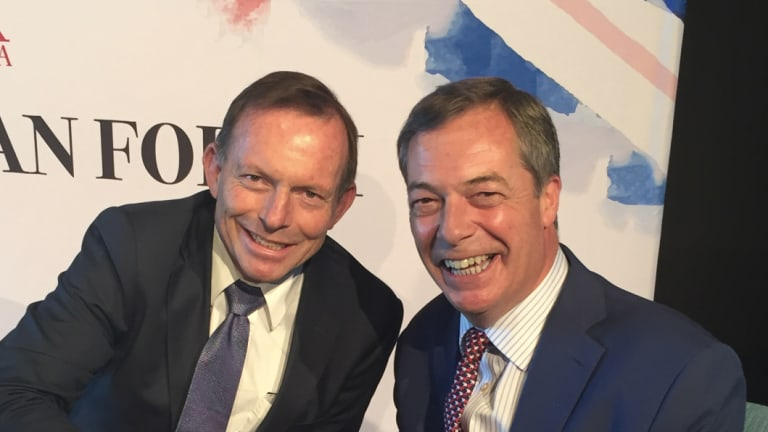 Nigel Farage and Tony Abbott at a conference in Sydney on Friday.