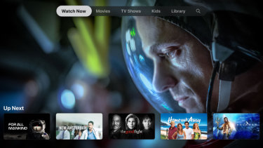 Screen shot of the Apple TV homepage, which features Apple TV+ original shows alongside popular third-party programs.