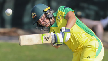 Alyssa Healy charges to her century yesterday.