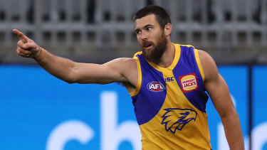 West is best: Josh Kennedy was on the mark for the Eagles with four goals in his 250th AFL game.
