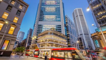The new-look office tower and retail podium at 388 George Street, Sydney.