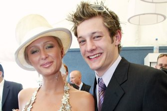 Paris Hilton and Australian singer Rob Mills at the Melbourne Cup in 2003.