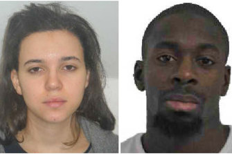Hayat Boumeddiene (left) and Amedy Coulibaly (right).