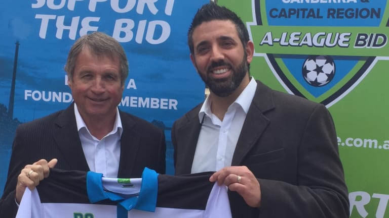 Canberra A-League head of football Ron Smith and bid leader Michael Caggiano.