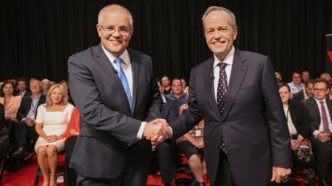 Scott Morrison and Bill Shorten ... a world of difference, but the world hardly rates a mention in this campaign.