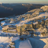 An aerial view of Mount Buller covered in snow.