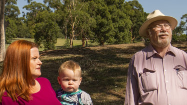 "Suzette Meade, pictured with son Ned and former Parramatta councillor Laurie Bennett, said ""green space in Parramatta is not safe""."