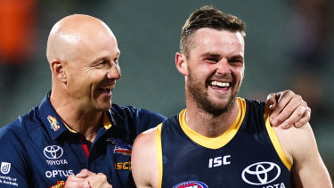 Crows midfielder Brad Crouch (right) was allegedly caught in possession of an illicit substance.