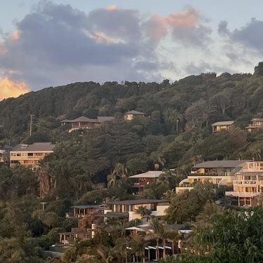 Ultra-expensive properties overlooking Wategos Beach.